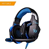 KOTION EACH G2000 PC Gaming Headset Over-ear Game Gaming Headphone Headset Earphone Headband with Volume Control with Mic Stereo Bass LED Light for PC,PS4,Xbox One (Black Blue)