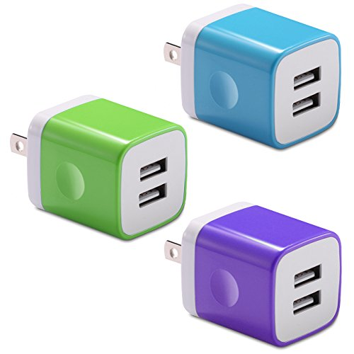USB Wall Charger, BEST4ONE 3-Pack 2.1A/5V 10.5Watt Dual USB Plug iPhone Charger Adapter Charging Block for iPhone XS Max XR X/8/7/6 Plus SE/5C/5S, Samsung, Moto, LG, Android Phone