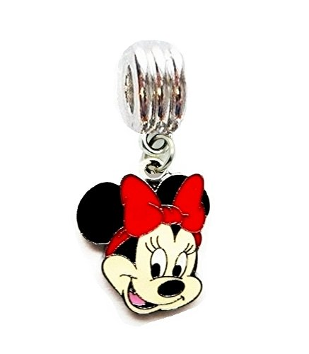 MINNIE MOUSE RED BOW CHARM PENDANT FOR NECKLACE EUROPEAN CHARM BRACELET DIY (Fits Most Name Brands)