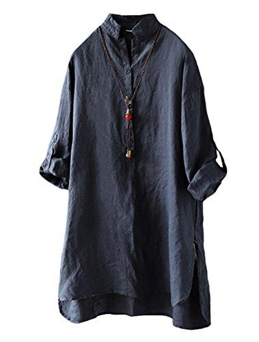 Camisas Azul Oscuro Larga Para Manga Camisa Matchlife Cuello Mujer Mao OdHWwq