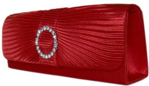 Exclusive Handtasche/ Clutch mit Strass in Rot
