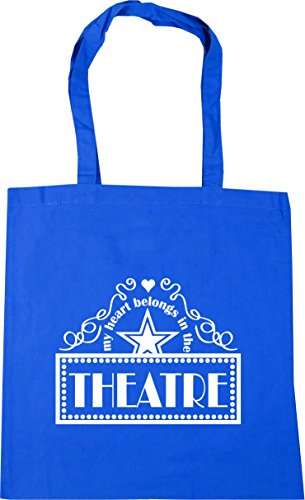 HippoWarehouse My Heart Belongs In the Theatre Tote Shopping Gym Beach Bag 42cm x38cm, 10 litres Cornflower Blue