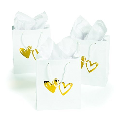 White Gift Bags with Gold Foil Hearts - 1 dozen - Wedding - Present - Gift Bag