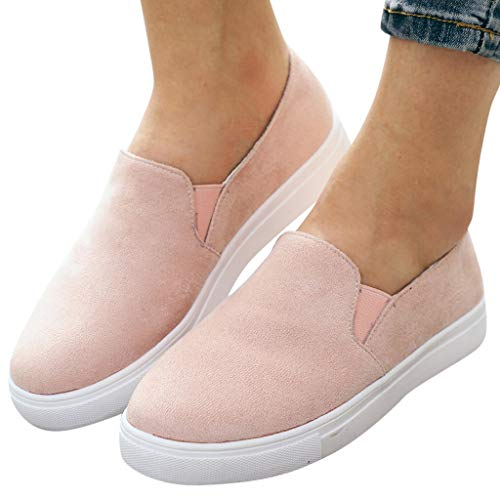Cenglings Womens Round Toe Flock Canvas Shoes Flat Slip On Loafers Running Shoes Office Work Sandals Dress Sandals Pink -