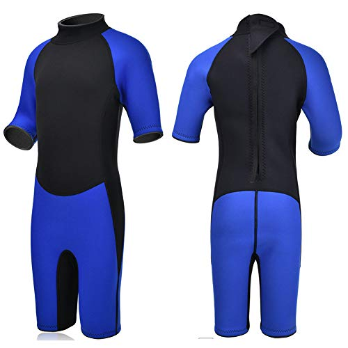(Realon Kids Wetsuit Shorty Full 3mm Premium Neoprene Lycra Swimsuit Toddler Baby Children and Girls Boys Youth Swim Surfing Snorkel Dive Snorkel XSPAN Back Zip Suit (Boy's Shorty Suit 3mm / Blue, XL))