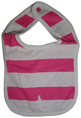 Price comparison product image Ralph Lauren Infant Girls Bib White & Pink Striped w/ Pony