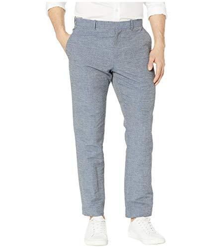 Perry Ellis Men's Slim Fit Linen Cotton End Dress Pant, Bijou Blue-4ESB4318, 38W X 30L