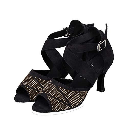 Suave Adultos 7 Y Baile 5 De Para Moderno Verano Diamantes Primavera Salón Latino Cm Tacón Con Hccy Zapatos Sandalias Negro Alto UTq8w8