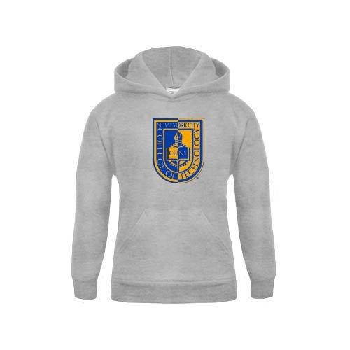 City Tech Youth Grey Fleece Hood CUNY Shield