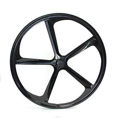 iMeshbean Fixed Gear 700c 5-Spoke Mag Rim Front Rear Single Speed Fixie Bicycle Wheel Set (Black, Front Wheel)