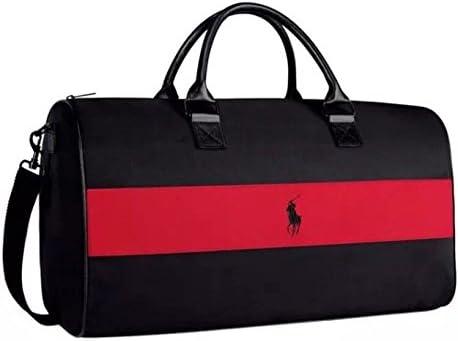 Bolsa Ralph Lauren negra con una raya roja para viajes deportes o gimnasio