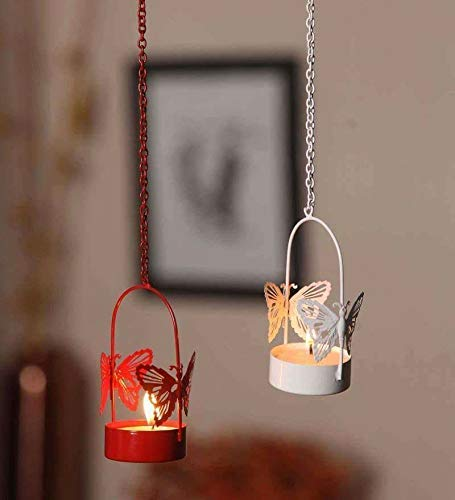 TUZECH Iron Decorative Hanging Butterfly Tealight Candle Holder (Set of 2)
