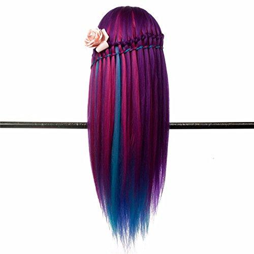 LuckyFine Salon Colorful Human Hair Mannequin Practice Training Head Hairdressing & Clamp 7
