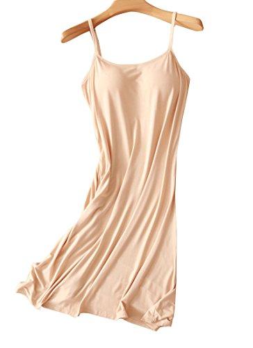 Womens Modal Shelf Bra Sleepwear Chemise Nightgown Full Slip