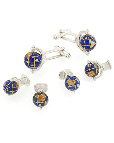 Jewelry Spinning Studs (Spinning Globe Formal Tuxedo Cufflinks and Studs Set in Silver)