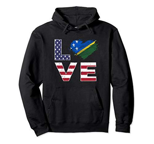 - USA Solomon Islands Flag Heart American Flag Shirt