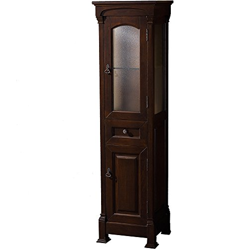 Wyndham Cherry (Wyndham Collection Andover Solid Oak Bathroom Linen Tower with Cabinet Storage in Dark Cherry)