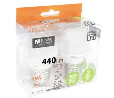 Silver Electronics Bombillas, 3000 K E27, 4.5 W, Blanco 2 Unidades: Amazon.es: Iluminación
