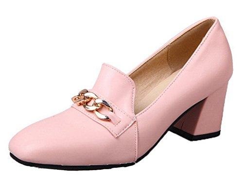 VogueZone009 Damen Quadratisch Zehe Mittler Absatz PU Rein Pumps Schuhe Pink
