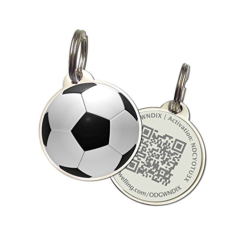 PetDwelling Soccer QR Code Pet ID Tag w/Online Pet Profile/Scanned GPS Location