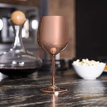 Copas de vino con acabado de cobre - Juego de 2 | Copas de cóctel de acero inoxidable | Gafas de globo de oro rosa | Vidrio de ginebra inastillable de 530 ml | M&W
