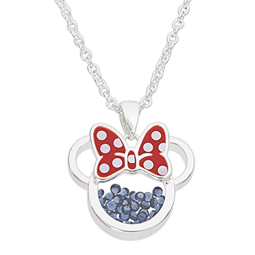 Disney Birthstone Women and Girls Jewelry Minnie Mouse Silver Plated September Sapphire Blue Cubic Zirconia Shaker Pendant Necklace, 18+2