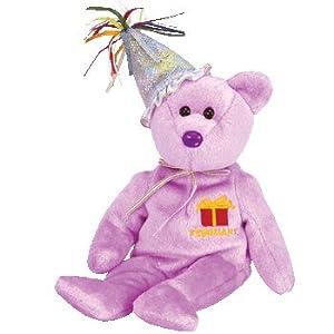 TY Beanie Baby - FEBRUARY the Teddy Birthday Bear (w/ hat) by Beanie Babies