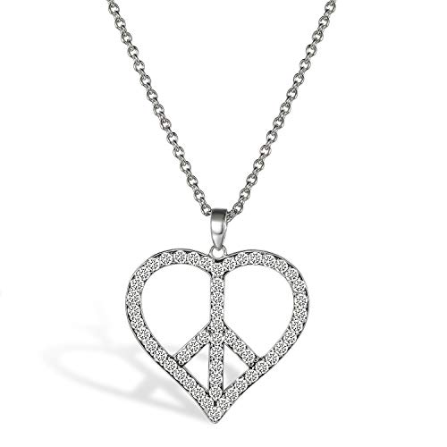 Sign Necklace Peace Heart (TTLElife 925 Sterling Silver Small Peace Sign CZ Heart Pendant Necklace for Women Girls)