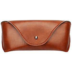 Portable PU Leather Sunglasses Pouch Soft Eye Glasses Carry Case for Women Men Horizontal Eyeglass Box Case (Brown)