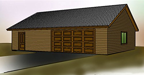 2 Car garage plan - Single Story - 40' x 30' - Extra space for storage, office or shop