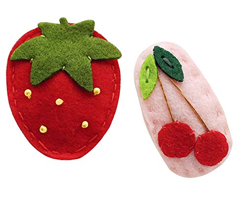 CRIZAN Hand made Felt Fruit Hair Clips For Baby Girl set (Strawberry - Clip Strawberry Hair