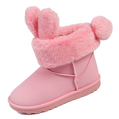 Fur Womens Suede WAWEN Cozy Lining Winter Cute Gift Snow for Boots Girl's Rabbit Christmas Warm Pink qA4TwHTtz