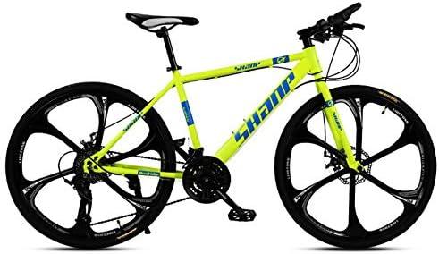 Ciudad VTT Bicicleta 26 Pulgadas Doble Disco Freno una Rueda 30 Velocidad XC Bicicleta de montaña Fuera de Carretera Bicicleta de MTB de Velocidad Variable,Yellow: Amazon.es: Deportes y aire libre