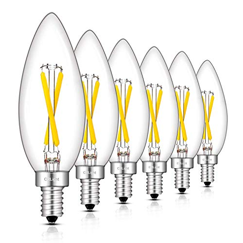 CRLight 2W 4000K LED Candelabra Bulb Daylight White 300LM Dimmable, 30W Incandescent Equivalent, Replace 4W Compact Fluorescent CFL Bulbs, E12 Base B10 Candle Clear Glass Torpedo Top, 6 Pack