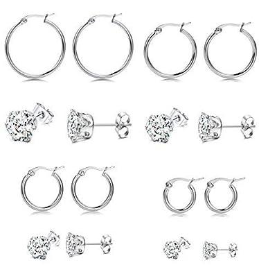 d68c7603ffc5e Adramata 8 Pairs Stainless Steel CZ Stud Earrings Hoop Earrings for ...