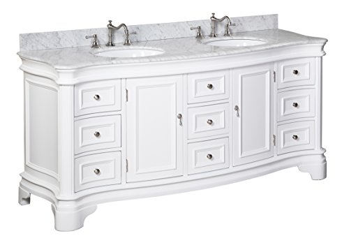 Kitchen Bath Collection KBC-A72WTCARR Katherine Bathroom Vanity with Marble Countertop, Cabinet with Soft Close Function and Undermount Ceramic Sink, Carrara/White, 72