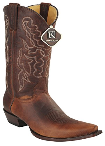 Womens Snip Toe Walnut Genuine Leather Rage Skin Western Boots UEOErJliiL