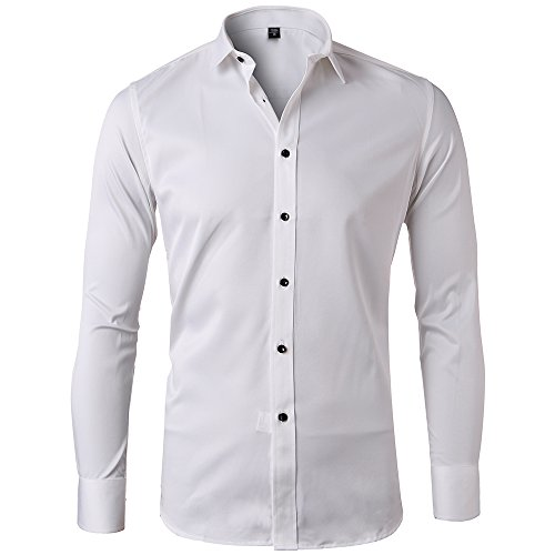 Men's Bamboo Fiber Dress Shirts Slim Fit Solid Long Sleeve Casual Button Down Shirts, Elastic Formal Shirts for Men,White Shirts, 15.5″Neck 33.5″Sleeve