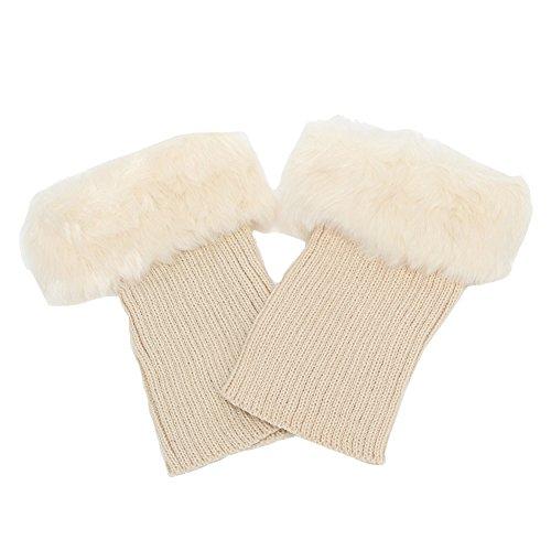 HAODIAN Frauen Dame Mädchen Modische Bequeme kurze Beinlinge Winter warme Strick Ankle Boot Abdeckungen kurze Socken mit Kunstpelz