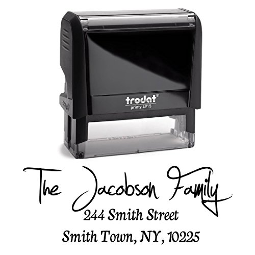 Black Ink, Personalized Custom Self Inking Return Address Stamp - Business Office Mail Stampers - Brilliant Gift for Real Estate Clients, Newlyweds, Family, Wedding or Housewarming
