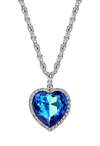Ananth Jewels Embellished Crystals from Swarovski Crystal Blue Titanic Ocean Heart Love Pendant Necklace Jewelry for Women