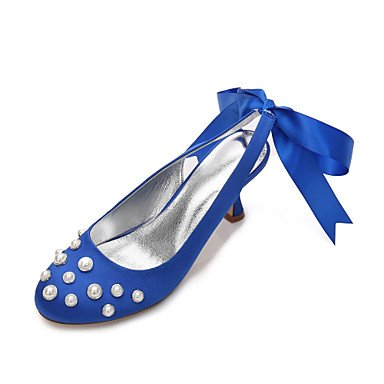 RTRY Las Mujeres'S Wedding Shoes Confort Satin Primavera Verano Boda Vestido De Noche &Amp; Rhinestone Bowknot Champán Heelivory Plana Rubí Azul US9.5-10 / EU41 / UK7.5-8 / CN42