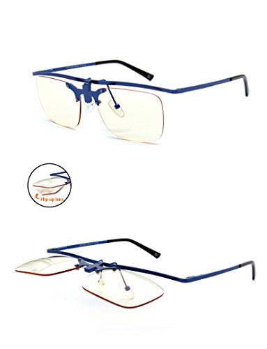 Flip Up Computer Glasses - Blue - Yellow Tinted Lenses Reduce Glare and Black Blue Light - Anti-UV Reflective - With Hard Protective Case - By Optix - Sunglasses Most Protective