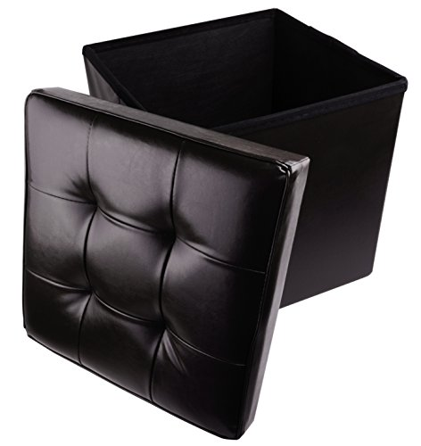 Cube Onyx Black (Faux Leather Folding Cube Storage Ottoman with Padded Seat, 15