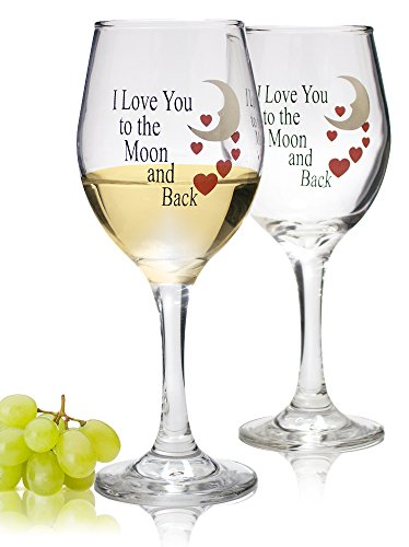 Moon and Back Valentine Wine Glasses - Set of 2 Decorative Wine Glasses - Wedding Glasses - I Love You To The Moon and Back