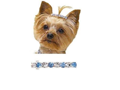 "Price comparison product image Dog Puppy Rhinestone Barrette Jewelry Aria Starlet Blue 2"""
