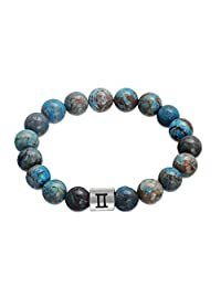 Lemegeton Handmade 12 Zodiac Bracelet Punk Astrology Horoscopes 10mm Beads Chain