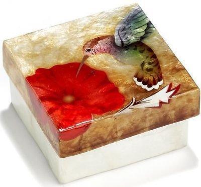 (Kubla Crafts Capiz Shell Hummingbird on Red Flower Trinket Box)