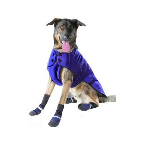 Muttluks 3-Layer Belted Winter Dog Coat, Size 18, Blue