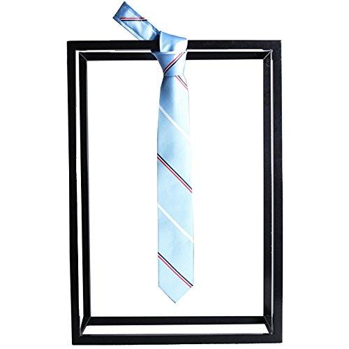 Boxed Pattern Necktie - Fashion Bump Color Stripe Jacquard Pattern Boutique Gift Boxed Tie New Tie Necktie (Color : Blue)